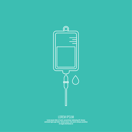 Vector iv bag icon. Saline symbol on background.  The concept of treatment and therapy, chemotherapy. Modern design, outline, linear
