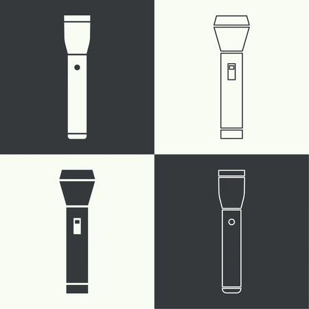 electric torch: Set of vector icons hand lamp. flashlight black color. flashlight icon for web