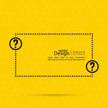 information symbol: Question mark blank template. Help symbol. FAQ sign icon. Empty vector form.  information, text box, textbox on yellow background. Speech Bubbles.