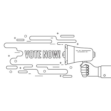 responsibility survey: Hand holding a megaphone. Icon  loudspeaker with linear banner. Notification through the speaker, advertisement bullhorn. Vector. Text vote now