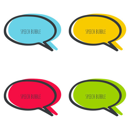 says: Set hand drawn speech bubble. Vector frame. Text box. Multicolor, red, blue green yellow Illustration