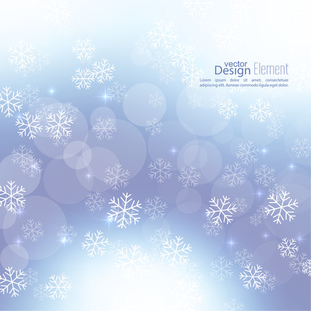glint: Gentle soft winter abstract background with falling scatter snowflakes, ice crystals and sparkles, glint, twinkle. Elegant blurry backdrop for festive decoration. Vector. Illustration