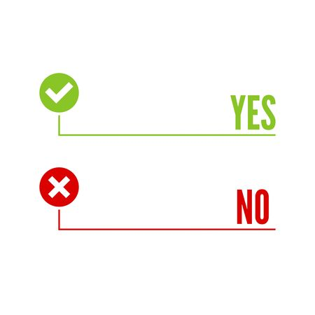 denial: Vector banners with check marks confirmation, acceptance positive passed voting agreement true and form of access denial, refusing, yes, no, checkbox, box