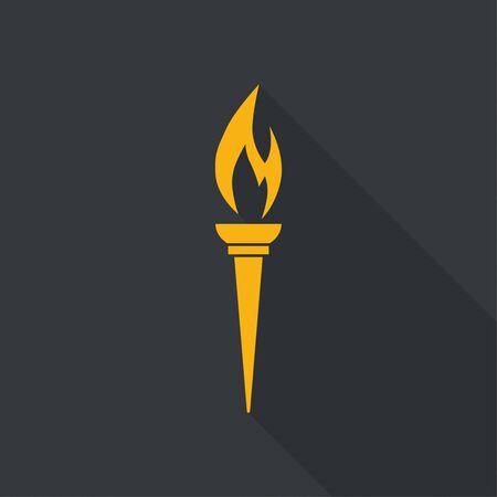 llamas de fuego: Icono del vector del soplete con una llama. El diseño de estilo plana con larga sombra. antorcha de color amarillo