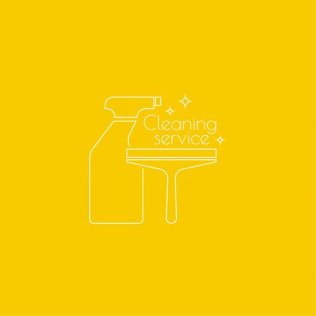 Servicio de limpieza de logotipo con botella de spray, un raspador para el lavado de ventanas. icono lineal. Linea fina. El concepto de limpieza para el hogar y la limpieza. servicio de limpieza.