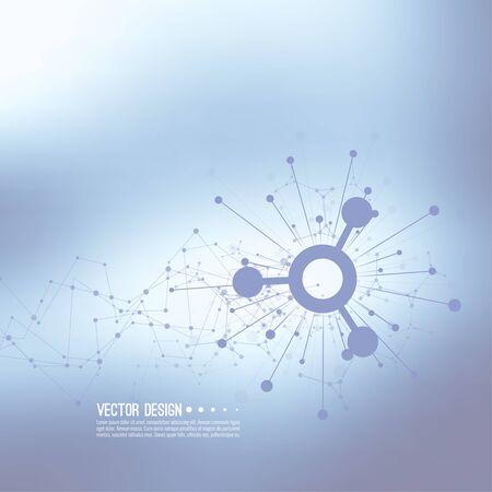 通信: 動的放出粒子の配列。ノードの分子構造。科学と接続の概念。テクノ研究、脳細胞、ニューロン。抽象的な背景のベクトル。フレームワークの背景