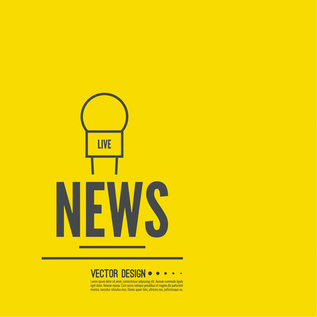 interviewer: Journalism concept. Live news template with microphone. Symbol breaking news on TV and radio. Journalist, interview, reporter, press, interviewer, mass media, paparazzi mic Vector