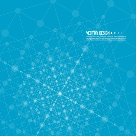 data line: Virtual abstract background with particle, molecule structure. Wireframe Mesh figure. Regular geometric shapes. Digital Data Visualization. Vector Illustration. Connection dot and line