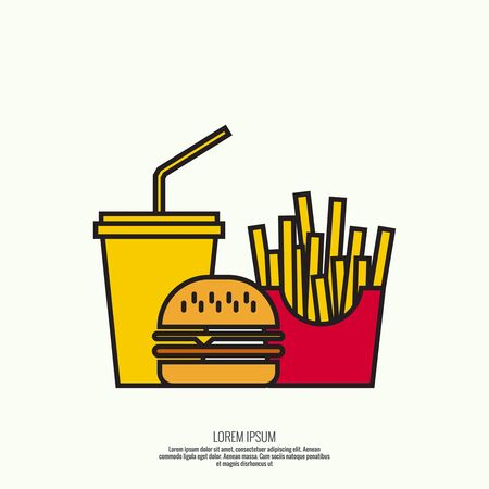 unhealthy: Abstract background soda, french fries, hamburger. The concept of fast food and unhealthy food. Burger Illustration