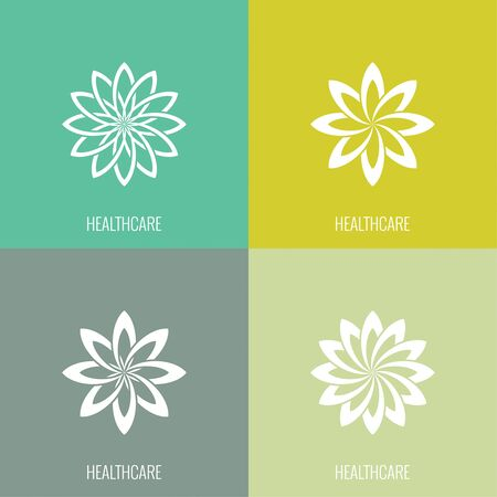 beauty icon: Set Abstract vector  element. Lotus flower. Icon for beauty, healthcare, wellness, fashion, cosmetic, perfume, yoga emblem, herbal product spa massage salon delicate color Illustration
