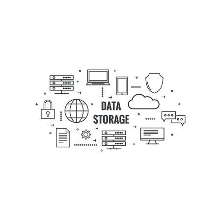 hardware configuration: Network cloud computing. Web hosting and cloud technology. Database protection security. Global data transfer and storage  server. Communication technologies connecting different devices. Illustration