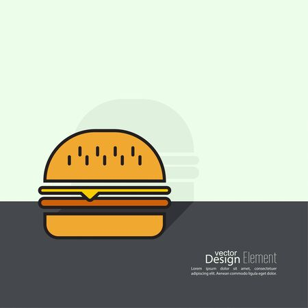 bap: Hamburger icon on background. Fast Food. Calories and fatty foods. minimal.  Burger Illustration