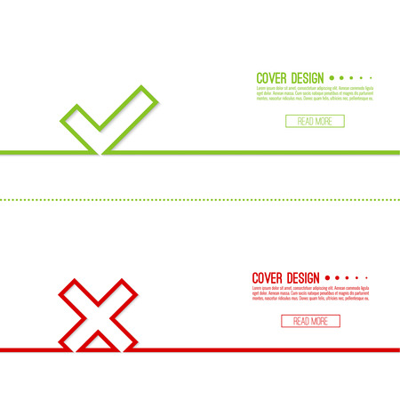 denial: Set vector background with check marks, ticks, x. checkbox. Web and mobile applications.confirmation, form of access denial, refusing. red, green template layout Illustration
