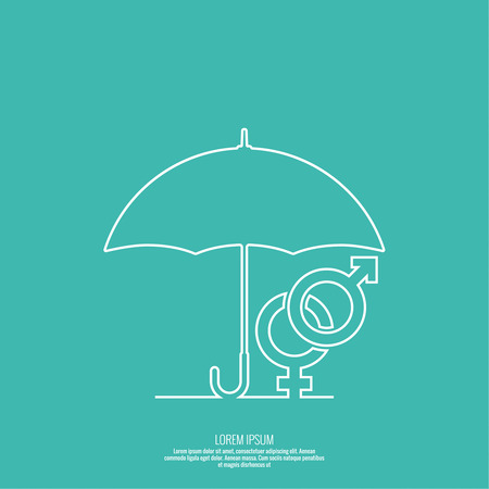 Male hand holding an umbrella. The concept of family protection, security, planning, treatment of sexually transmitted diseases.