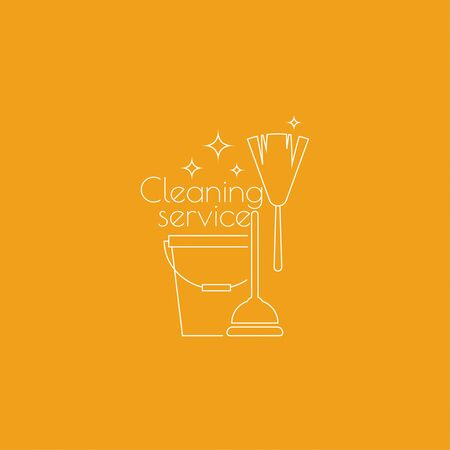 cleanliness: cleaning service with broom and bucket plunge. Linear icon. Thin line. The concept of home cleaning and cleanliness.  cleaning service. Illustration