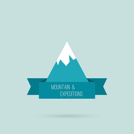 Mountains with ribbon for text and traffic schemes. Logo. Hiking, climbing, travel, expedition. Investigation of the Wild