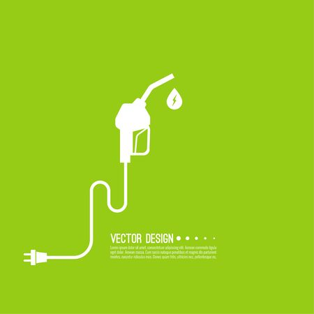 refuel: Gasoline pump nozzle sign. Gas station icon. Electro refill symbol. Vector. Fuel pump petrol station. drop of gasoline with lightning.  refuel service.