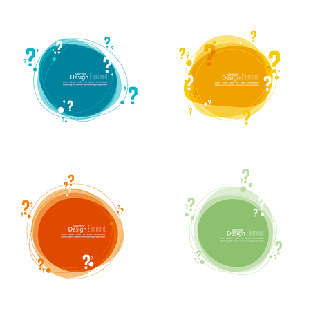 roundish: Question mark icon. Help symbol. FAQ sign on background. vector.Set Banner roundish form Illustration