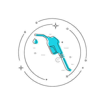 refuel: Gasoline pump nozzle sign. Gas station icon. Fuel pump petrol station. drop of gasoline.  refuel service. Vector illustration. linear design Illustration