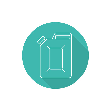 combustible: Canister under the petrol, gasoline and engine oil. Modern thin line icon. outline symbol. Vector. Can for combustible materials. flat style