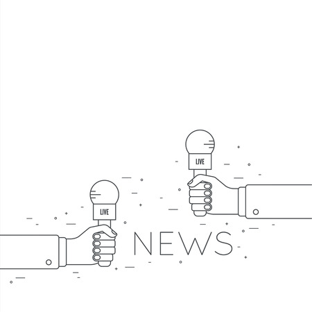 interviewer: Journalism concept. Live news template with microphone. Symbol breaking news on TV radio. Journalist holding mic. interview, reporter, press, interviewer, media, paparazzi. Vector Linear design
