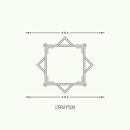 craftsperson: Vintage linear geometric frame with divider. Geometry retro art shape deco. Vector vintage separate border. Tribal text box. Ethnic textbox.