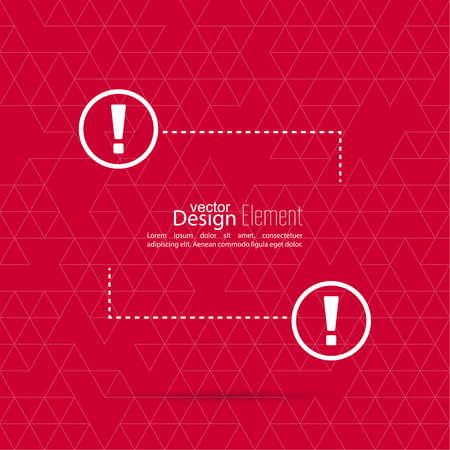 reference point: Exclamation mark blank template. Attention sign icon. Empty vector form.  information, text box, textbox on red background. Speech Bubbles.