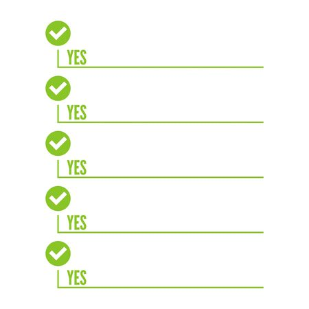 todo: To do list. Lines with check boxes. checklist for note. consent. checkmark. election and voting. yes mark. Todo tick. Vector