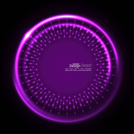 curl whirlpool: Abstract techno background with spirals and rays with glowing particles. Tech design. Lights vector frame. Glowing dots. purple, lilac, mauve, violet, magenta