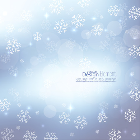 twinkle: Gentle soft winter abstract background with falling scatter snowflakes, ice crystals and sparkles, glint, twinkle. Elegant blurry backdrop for festive decoration. Vector. Illustration