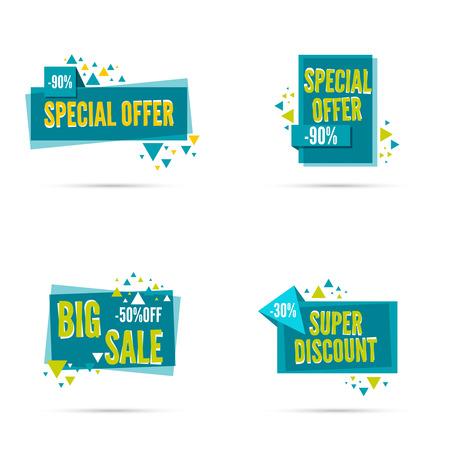 sale tag: Sale banner. Vector tag. special offer, discount, price  30 50 90 percentage Super offer Illustration