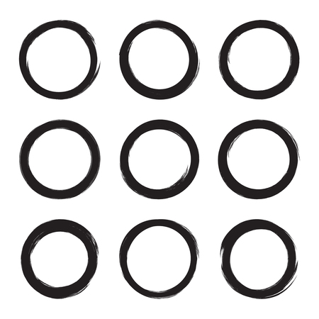 frame  box: Set hand drawn ovals, circle, curve frame. Text box from smears. Vector  Black stroke border