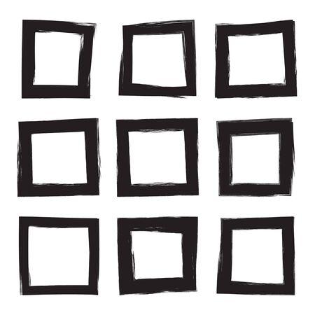 frame  box: Set hand drawn square, photo, foto frame. Text box from black smears. Vector Black stroke border