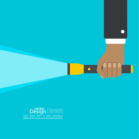 electric torch: Vector background with hand holding a flashlight. Vector flat flashlight illustration. The concept of search optimization, seo. Pocket flashlight icon. Illustration