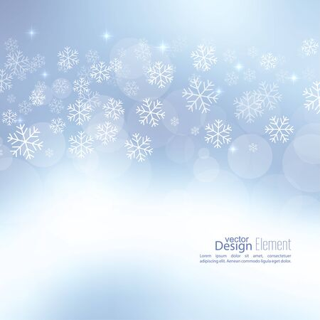 glint: Gentle soft winter abstract background with falling scatter snowflakes, ice crystals and sparkles, glint, twinkle. Elegant blurry backdrop for festive decoration. Vector. Stock Photo