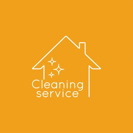 clean home: Vector with clean house. Icon cleaning services.  Linear icon. Thin line. The concept of home cleaning and cleanliness.