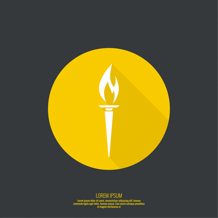 Vector icon of  torch with a flame. Button for web design and mobile applications. Bright torch. Illustration