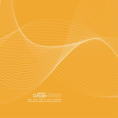 impetuous: Abstract techno background with lines in waves. Flow popular form vector. Futuristic high tech design for scientific cover book, brochure, flyer, poster, magazine, website. yellow