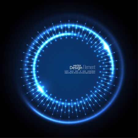 cerulean: Abstract techno background with spirals and rays with glowing particles. Tech design. Lights vector frame. Glowing dots.  blue, cerulean, cobalt, indigo, sapphire, ultramarine