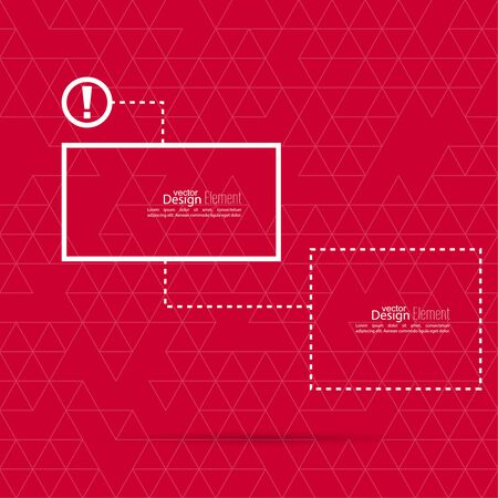 Exclamation mark blank template. Attention sign icon. Empty vector form. information, text box, textbox on red background. Speech Bubbles.
