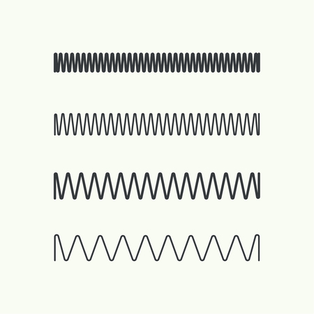inductor: Set coil spring vector icon. Induction spiral electrical symbol. Illustration