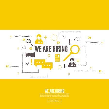 Rekrutierung. Konzept zu suchen bessere Kandidat für die offene Position. Wir stellen ein, hr. Jobangebot. Gesucht Mitarbeiter, Personal. Vector Linear-Symbol.