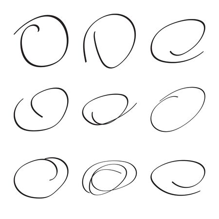 rough draft: Set hand drawn ovals, felt-tip pen circles. Underlining, note, highlight important information. Rough vector frame elements.