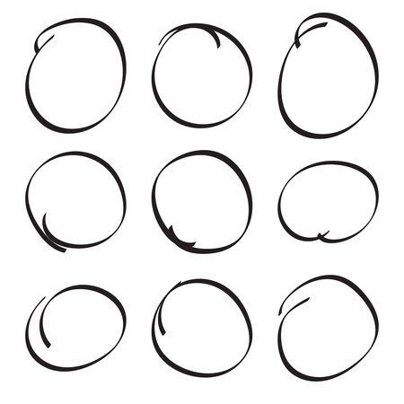 Set hand drawn ovals, felt-tip pen circles. Underlining, note, highlight important information. Rough vector frame elements.