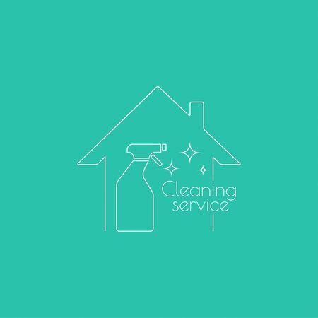 Vector logo with clean house with spray bottle. Icon cleaning services.  Linear icon. Thin line. The concept of home cleaning and cleanliness. Illustration