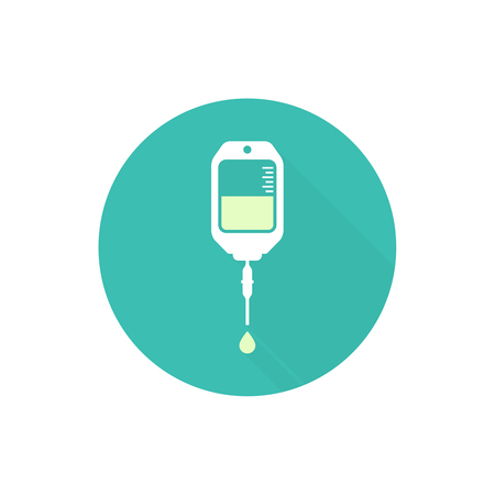 chemotherapy: Vector iv bag icon. Saline symbol on background.  The concept of treatment and therapy, chemotherapy. Modern  design flat design with long shadow, web button