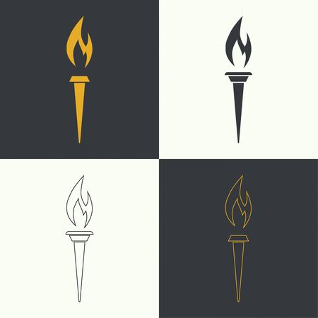 vector art: Vector icon of  torch with a flame. Set different torches. Linear icon. Outline, line art