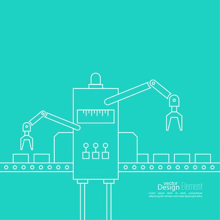 Thin Line Art Design. Linear vector and elements.  Concept Production line, Assembly, development, robotic automatic conveyor manufacture.