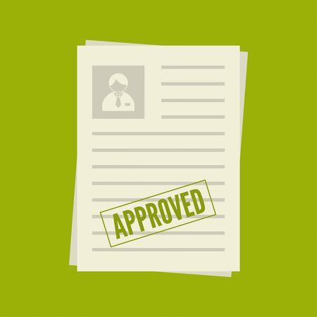 Un paquet de feuilles de papier avec un sceau d'approbation. Résumé avec la marque sur l'acceptation. Cv approuvé. CV, dossier personnel