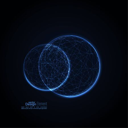 Abstract background with glowing spheres intersecting the global. Science and connection concept. The technology of the future. Vector backdrop. Planet and orbit
